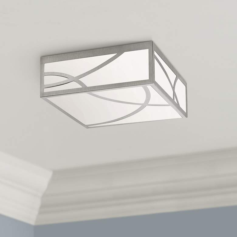 "Sonneman Haiku 12""W Satin Nickel Square LED Ceiling"