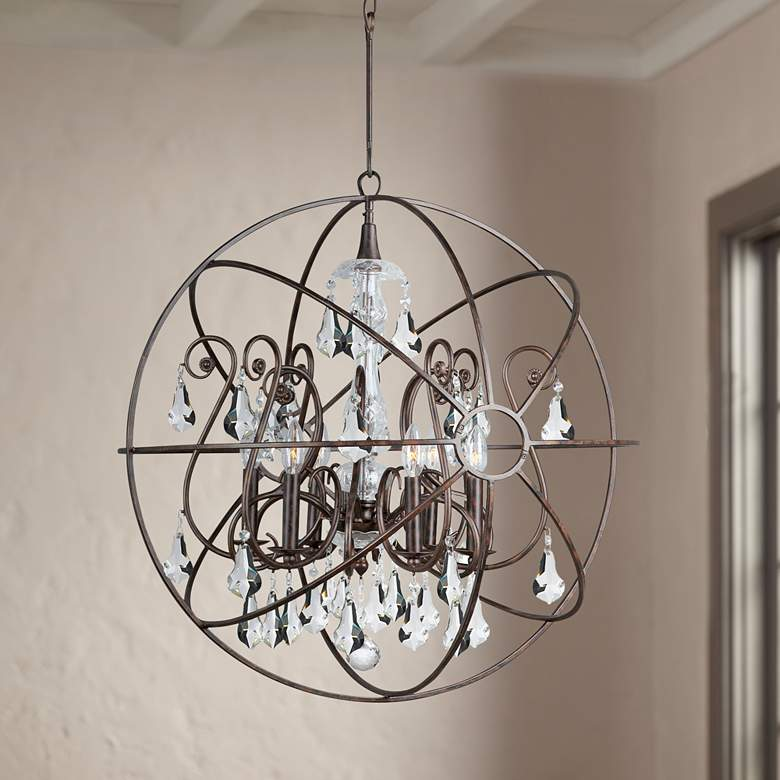 "Solaris 28""W English Bronze and Crystal 6-Light Chandelier"