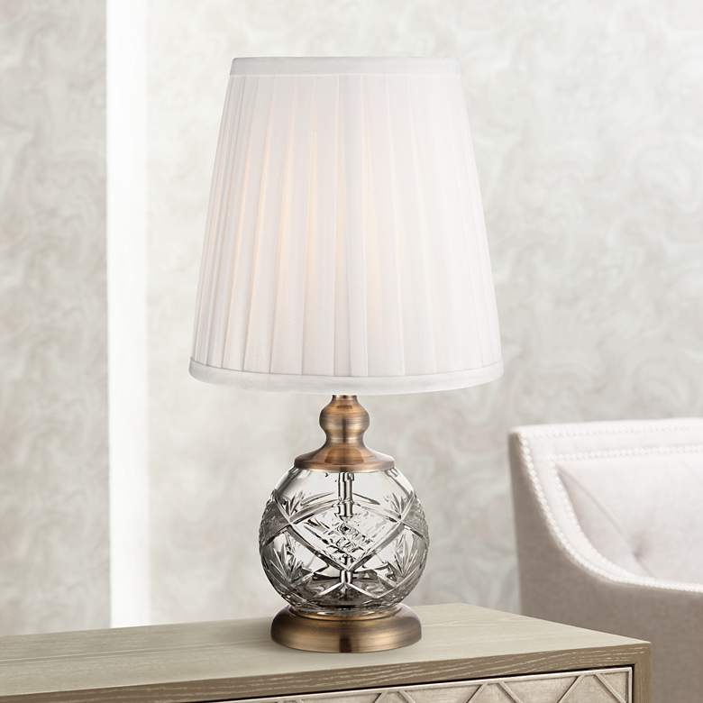 "Ida Crystal Sphere and Brass 15"" High Mini Accent Table Lamp"