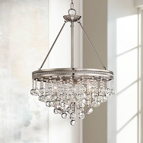 Regina brushed nickel 19 wide crystal chandelier 3h066 - Small crystal chandelier for bathroom ...