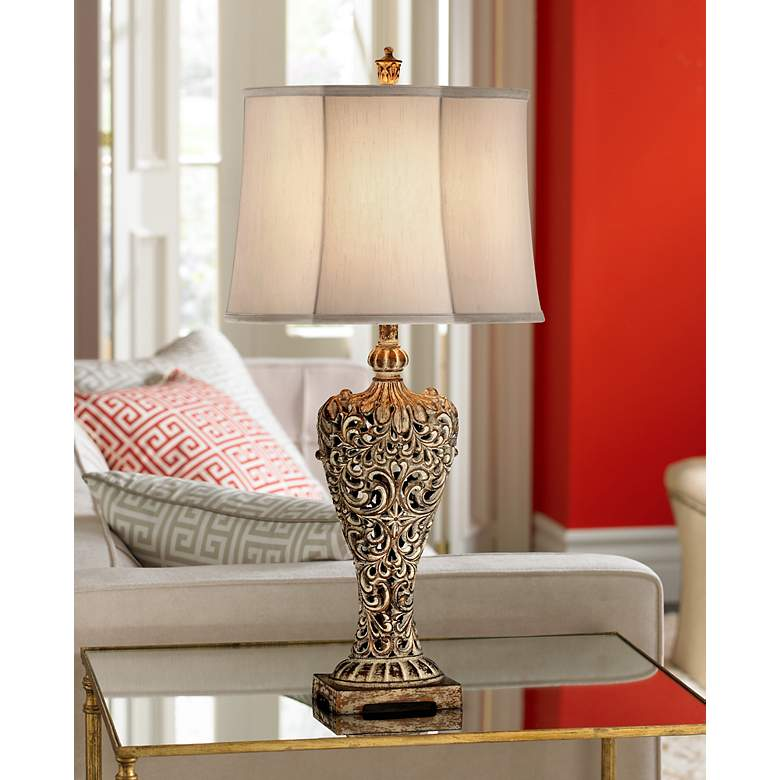 Elle Carved Antique Bronze Classic Table Lamp