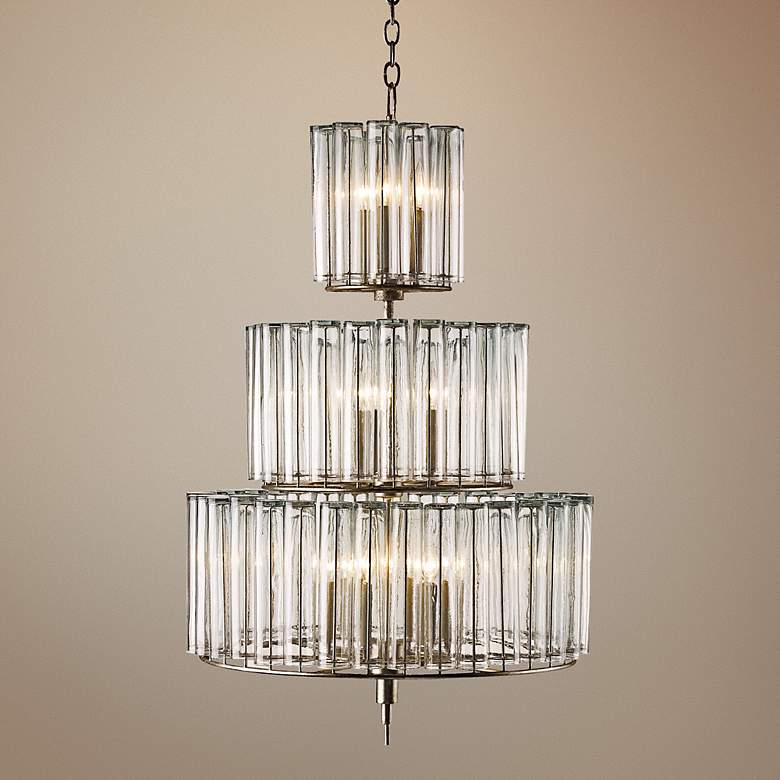 "Currey and Company Bevilaqua 43"" High Silver Chandelier"