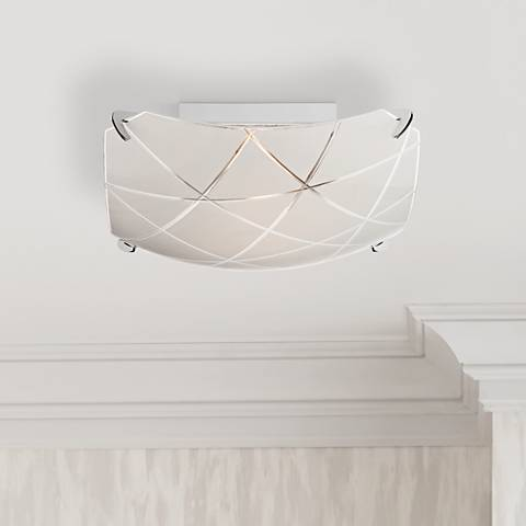 "Lattice 13 3/4"" Wide Chrome Ceiling Light"