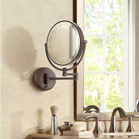 wall mounted mirror cordless led pivoting 9 quot wide bronze wall mount mirror 28893