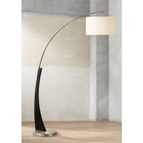 Nova Portman Brushed Nickel Arc Floor Lamp 3k744