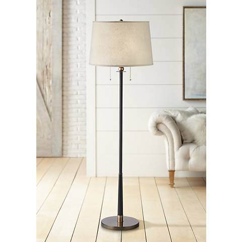 Kathy Ireland City Heights Antique Brass Floor Lamp