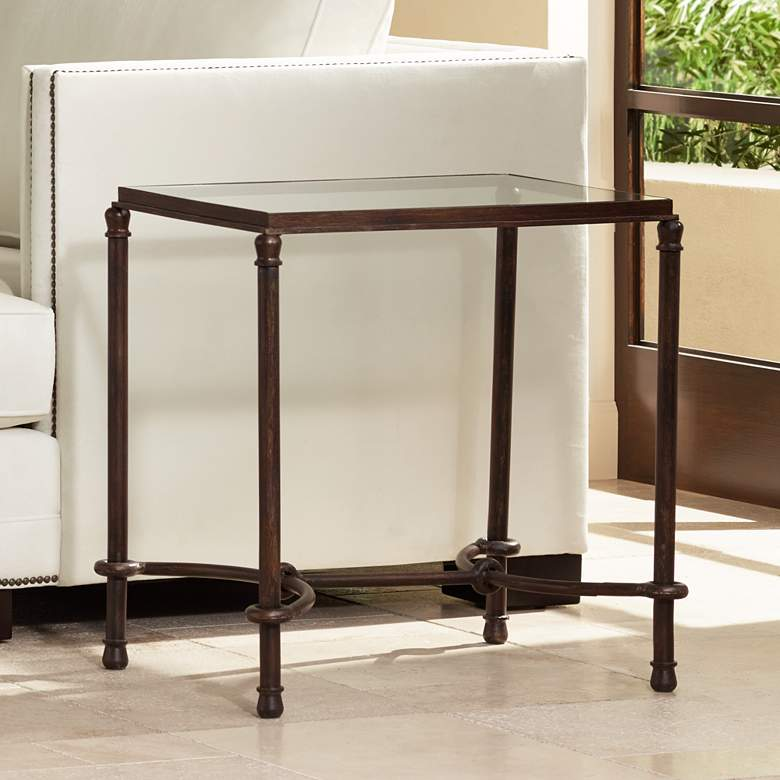 "Uttermost 25"" Wide Warring Rustic Bronze and Glass End Table"