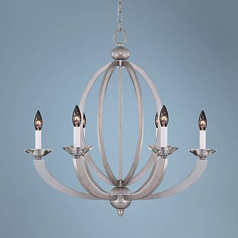 "Savoy House Forum 26 3/4"" Wide Silver Sparkle Chandelier"