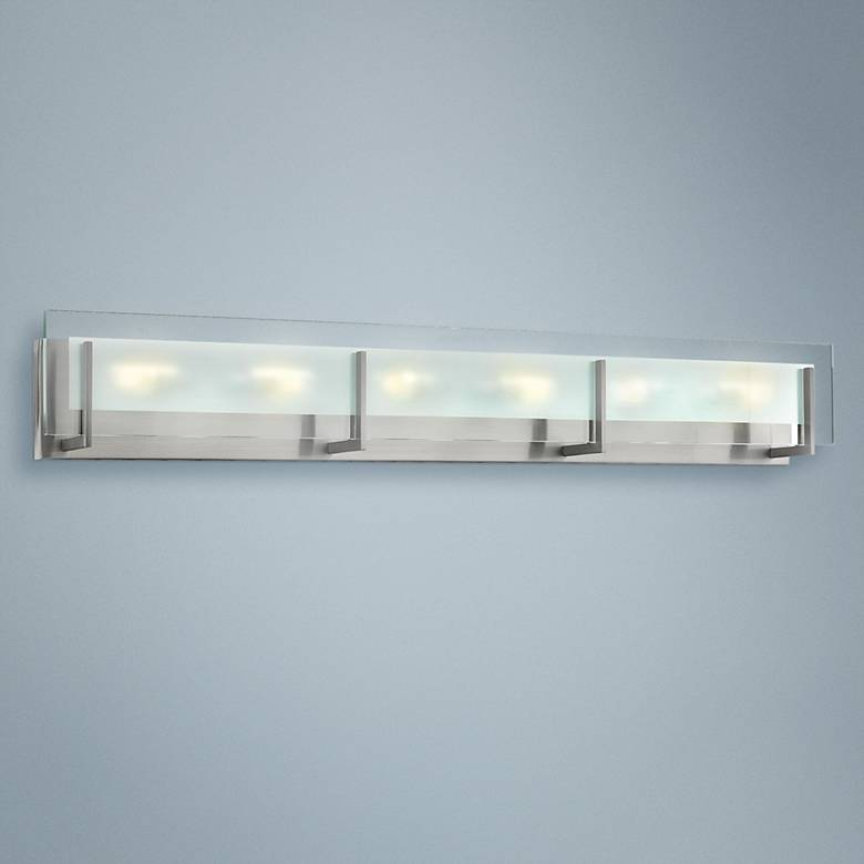 "Hinkley Latitude 37 1/2"" Wide Brushed Nickel Bath Light"
