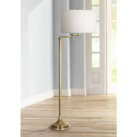 Robert Abbey Sofia Antique Brass Swing Arm Floor Lamp