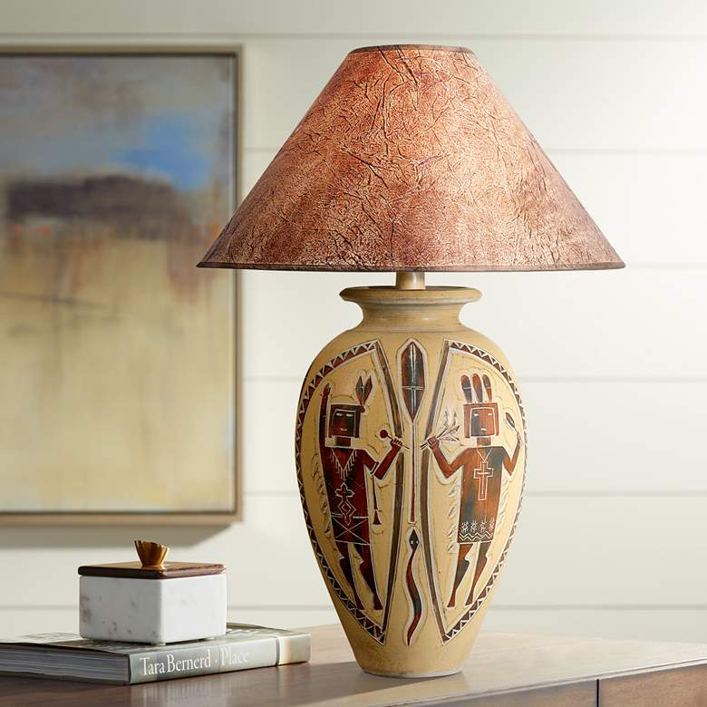 Indian Dance Handcrafted Desert Red Southwest Table Lamp