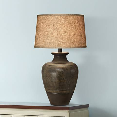 Dark Beige Sable Southwest Table Lamp