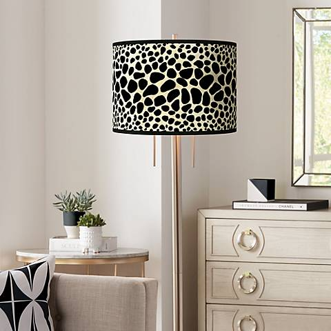 Leopard Giclee Brushed Nickel Garth Floor Lamp