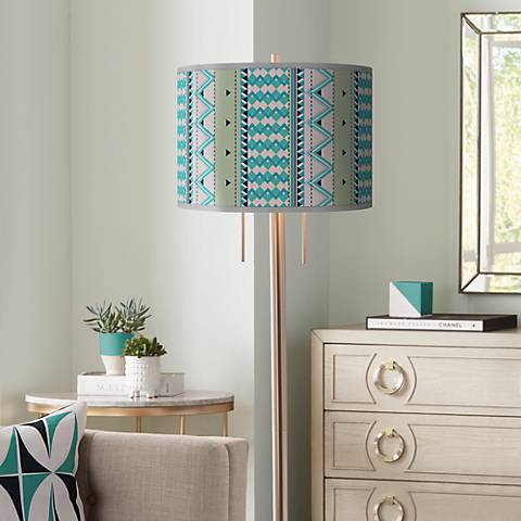 Geo Metrix Giclee Brushed Nickel Garth Floor Lamp