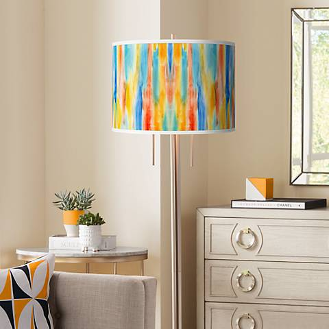 Tricolor Wash Giclee Brushed Nickel Garth Floor Lamp