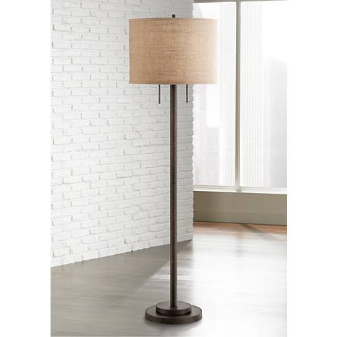 Garth Twin Pull Chain Transitional Bronze Floor Lamp 3p330 Lamps Plus