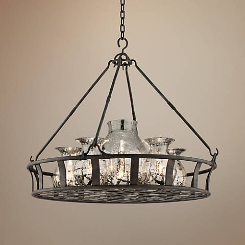"Chianti Collection 33 1/4"" Wide Antique Silver Chandelier"
