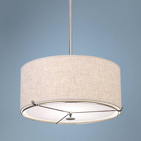 "Robert Abbey Edwin 21"" Wide Polished Nickel Pendant"