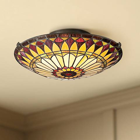 "Quoizel West End 17"" Wide Vintage Bronze Ceiling Light"
