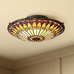 "West End 17"" Wide Tiffany-Style Sunflower Ceiling Light"