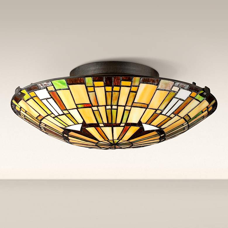 "Quoizel Reed 17"" Wide Vintage Bronze Ceiling Light"