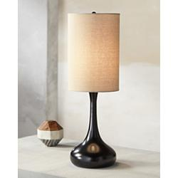 Espresso Bronze Droplet Table Lamp with Cylinder Shade
