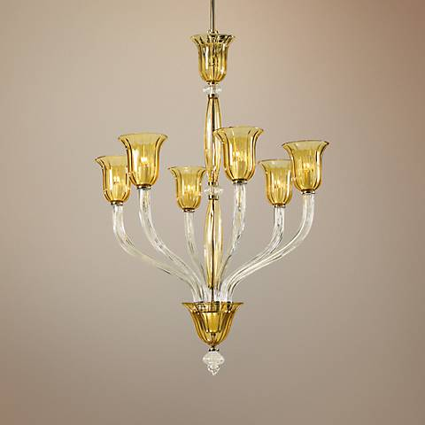 "Vetrai 31"" Wide Amber and Clear Glass Chandelier"