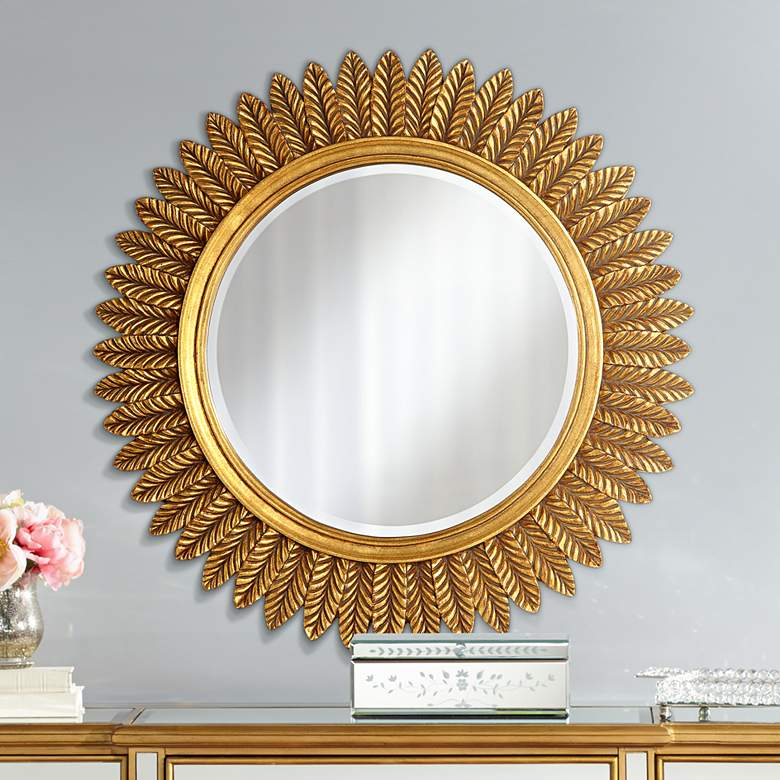 "Caesar Antique Gold Leaves 32"" Round Mirror"