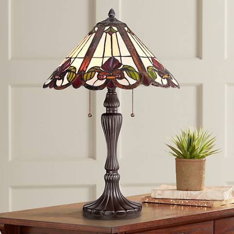 Quoizel Fields Tiffany-Style Art Glass Floral Table Lamp