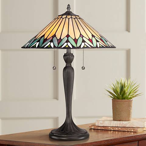 Quoizel Pearson Twin Light Tiffany Style Table Lamp