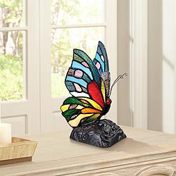 "Quoizel Butterfly 9"" High Tiffany-Style Accent Lamp"