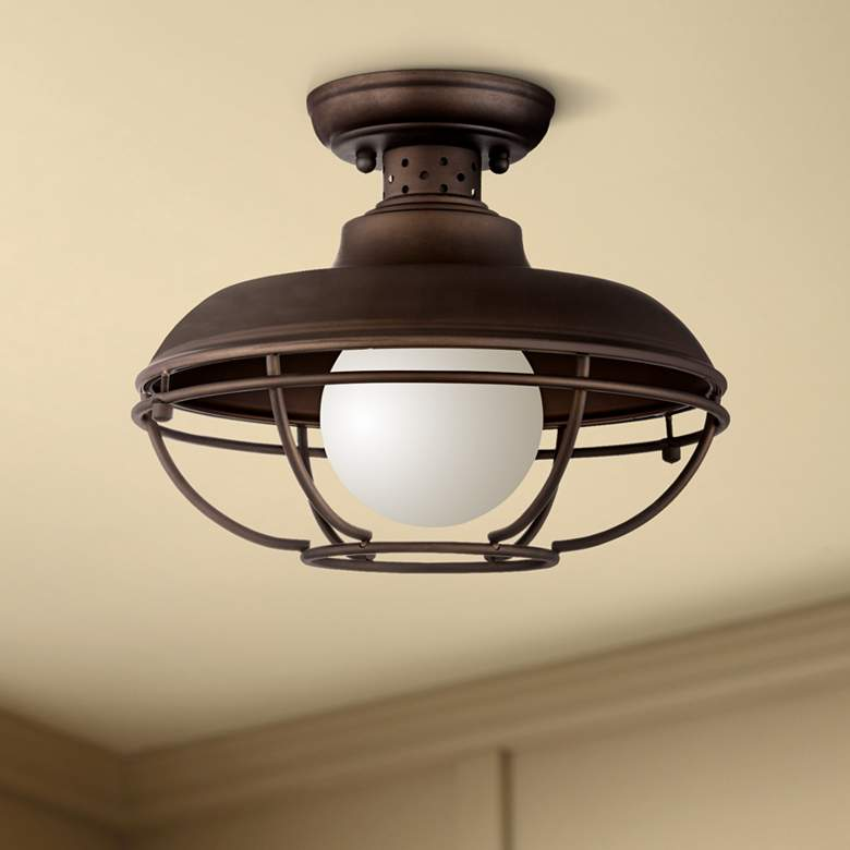 "Franklin Park 12"" Wide Bronze Metal Cage Ceiling Light"
