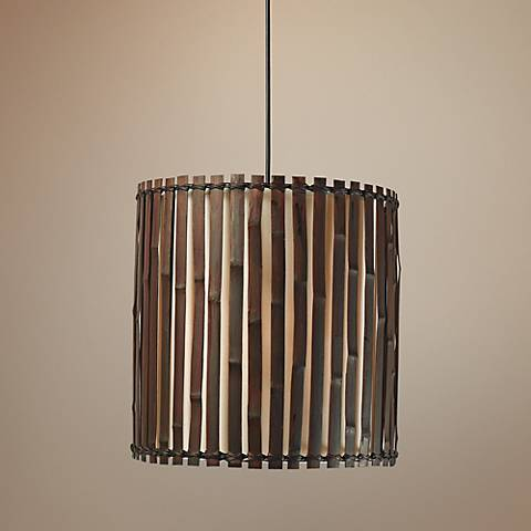 "Grove 14"" Wide Dark Split Bamboo Pendant"
