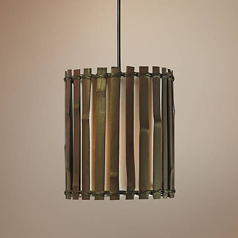 "Grove 8"" Wide Dark Split Bamboo Mini Pendant"
