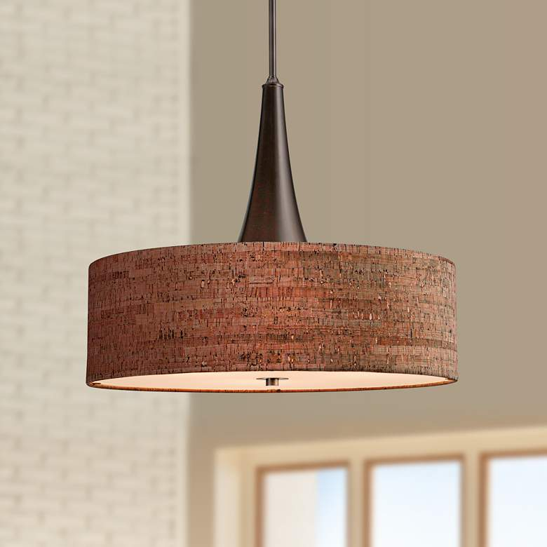 "Bulletin 22"" Wide Natural Cork Pendant"