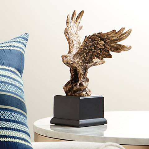 "Perched American Eagle 11 1/2"" High Table Sculpture"