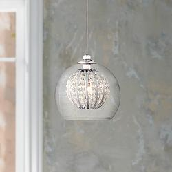 "Possini Euro Onida 4 1/4""W Clear Crystal Glass Mini Pendant"