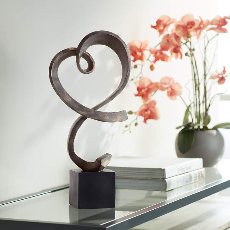 "Swirling Heart 17 1/4"" High Brushed Nickel Modern Sculpture"