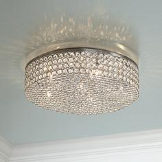 Flush mount ceiling lights lamps plus velie 16 wide round crystal ceiling light aloadofball Choice Image
