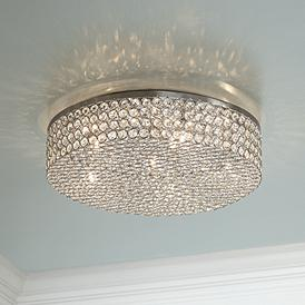 Velie 16 Wide Round Crystal Ceiling Light