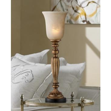 "Fluted Column 27 3/4"" High Console Lamp with Alabaster Glass"