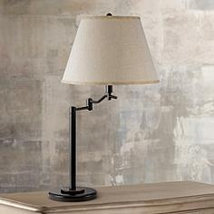 Swing arm table lamps lamps plus stila dark bronze swing arm table lamp mozeypictures Image collections