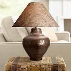 Rustic table lamps lodge and cabin styles lamps plus keaton copper finish southwest table lamp mozeypictures Image collections