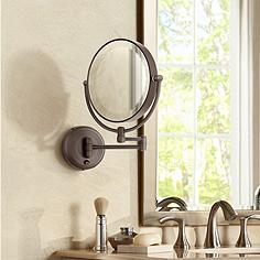 Wall mounted makeup mirrors magnifying lighted more lamps plus cordless led pivoting 9 wide bronze wall mount mirror aloadofball Choice Image
