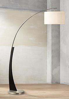 Wood nova floor lamps lamps plus nova portman brushed nickel arc floor lamp aloadofball Image collections
