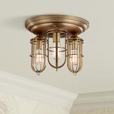 "Feiss Urban Renewal 15"" Wide Antique Brass Ceiling Light"