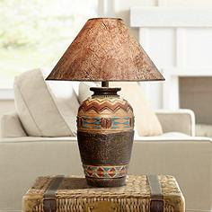 Rustic table lamps lodge and cabin styles lamps plus wild west handcrafted southwest table lamp aloadofball Gallery