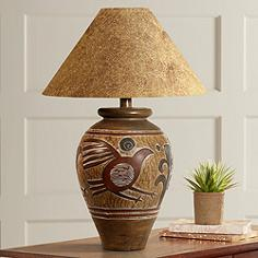 Rustic table lamps lodge and cabin styles lamps plus indian bird handcrafted southwest table lamp mozeypictures Images