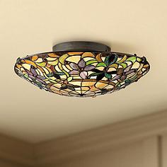 Art glass semi flush mount close to ceiling lights lamps plus quoizel kami 17 wide vintage bronze ceiling light aloadofball Images
