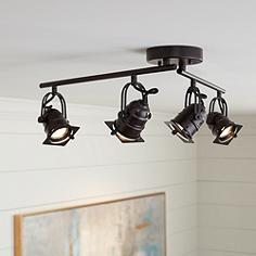 Hamilton 4 Light Swing Arm Bronze Led Track Fixture